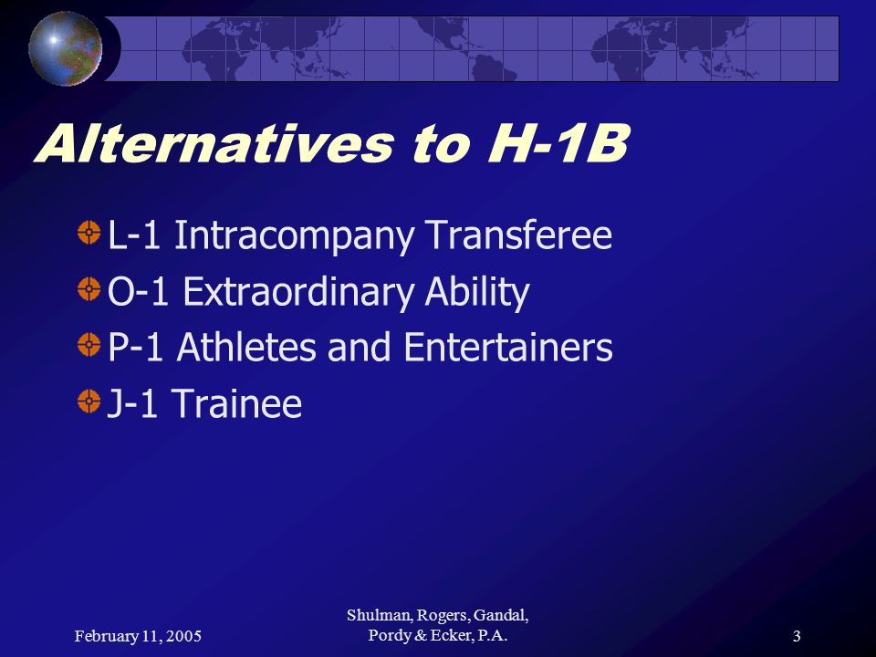 February 11, 2005 Shulman, Rogers, Gandal, Pordy & Ecker, P.A.24 Alternatives to H-1B O-1 – 3/10 Criteria Participation (on a panel or individually) as a judge of the work of others in the field Original scientific, scholastic, artistic, athletic or business-related contributions of major significance in the field Authorship of scholarly articles in the field in professional journals or major media