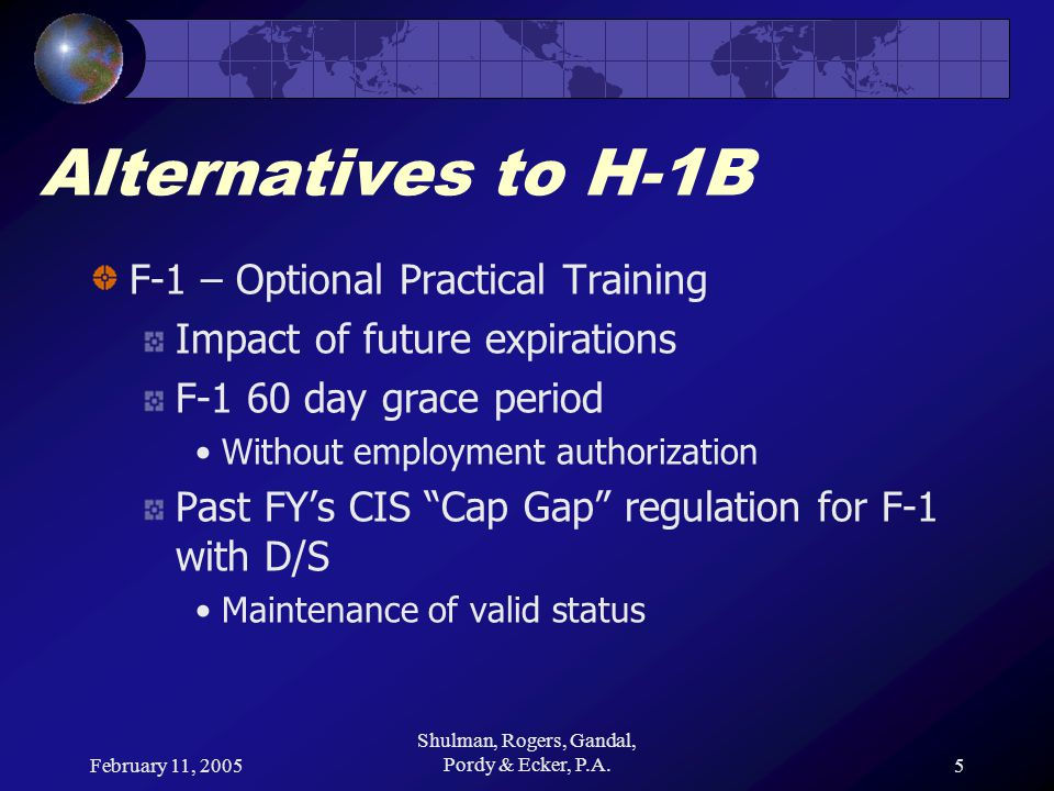February 11, 2005 Shulman, Rogers, Gandal, Pordy & Ecker, P.A.6 Alternatives to H-1B H-1B Cap issues for F-1 OPT Recruitment Remainder of FY-2005 Strategic planning to avoid Delayed start new H-1B employees Interruptions to existing employees changing to H-1B status