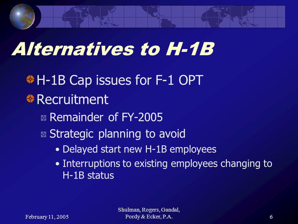 February 11, 2005 Shulman, Rogers, Gandal, Pordy & Ecker, P.A.7 Alternatives to H-1B Strategic Planning FY-2005 H-1B cap hit on 10/1/2004 When will FY-2006 H-1B cap hit.