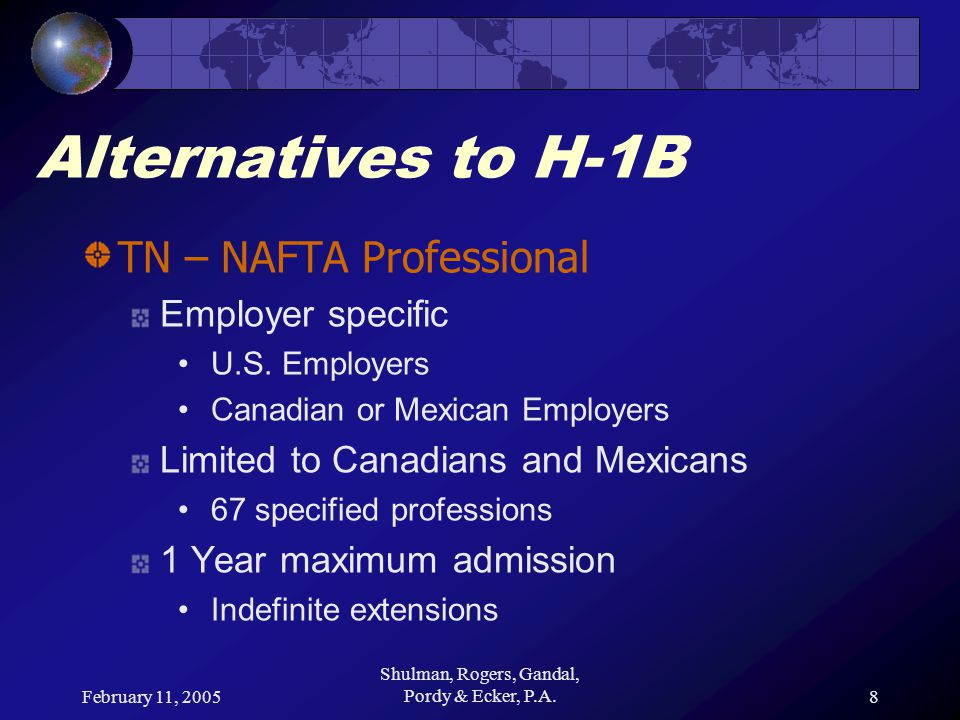 February 11, 2005 Shulman, Rogers, Gandal, Pordy & Ecker, P.A.9 Alternatives to H-1B TN – NAFTA Professional Canadians visa exempt Apply directly at Border or POE Mexicans require TN Visa Apply directly at U.S.