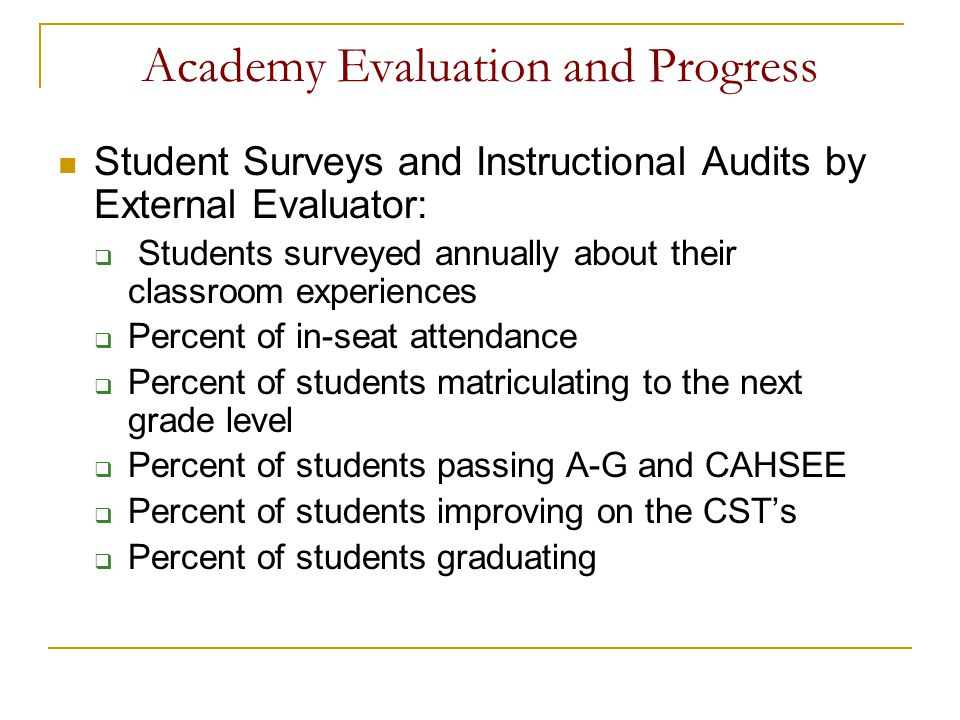 Academy Evaluation and Progress Student Surveys and Instructional Audits by External Evaluator: Students surveyed annually about their classroom exper