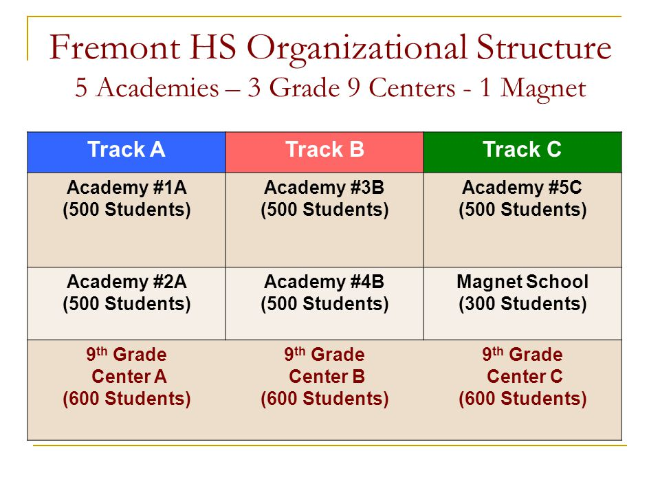 Fremont HS Organizational Structure 5 Academies – 3 Grade 9 Centers - 1 Magnet Track ATrack BTrack C Academy #1A (500 Students) Academy #3B (500 Students) Academy #5C (500 Students) Academy #2A (500 Students) Academy #4B (500 Students) Magnet School (300 Students) 9 th Grade Center A (600 Students) 9 th Grade Center B (600 Students) 9 th Grade Center C (600 Students)