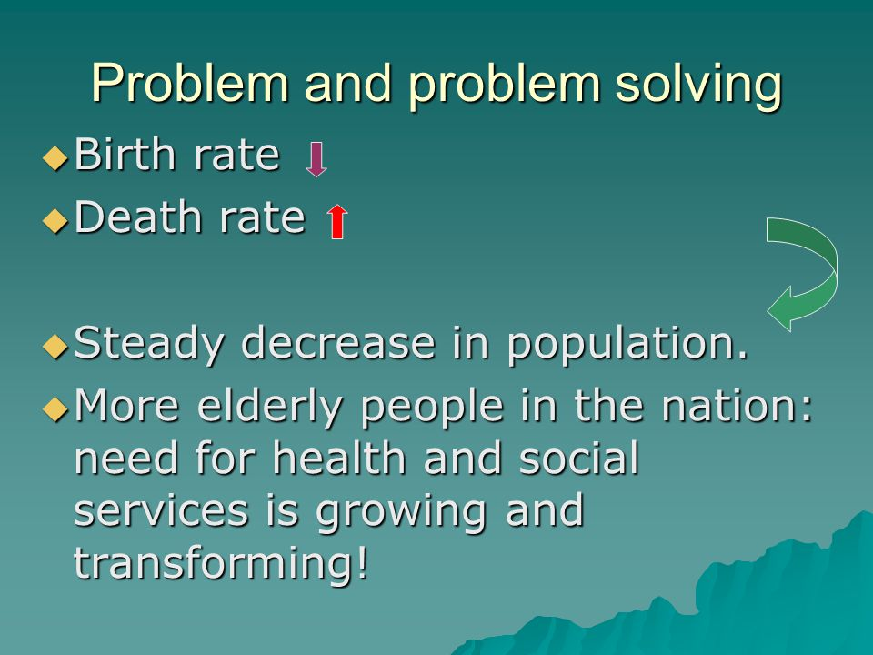 Problem and problem solving Birth rate Birth rate Death rate Death rate Steady decrease in population.