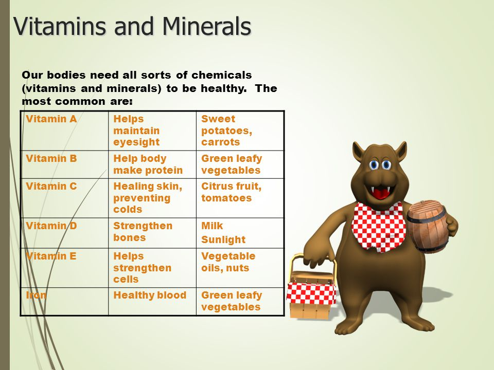 Vitamins and Minerals Our bodies need all sorts of chemicals (vitamins and minerals) to be healthy.