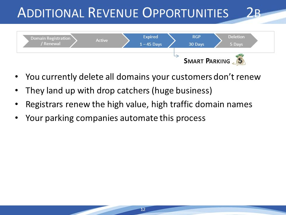A DDITIONAL R EVENUE O PPORTUNITIES 2 B You currently delete all domains your customers dont renew They land up with drop catchers (huge business) Registrars renew the high value, high traffic domain names Your parking companies automate this process 12 Domain Registration / Renewal Active Expired 1 – 45 Days RGP 30 Days Deletion 5 Days S MART P ARKING