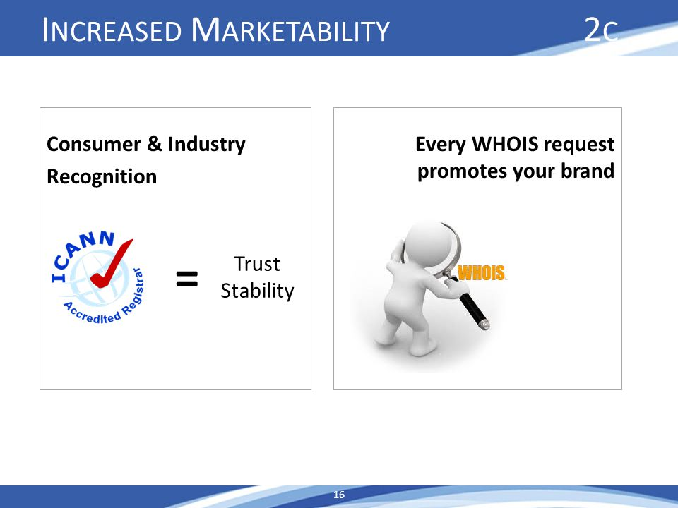 I NCREASED M ARKETABILITY 2 C Consumer & Industry Recognition 16 Every WHOIS request promotes your brand = Trust Stability