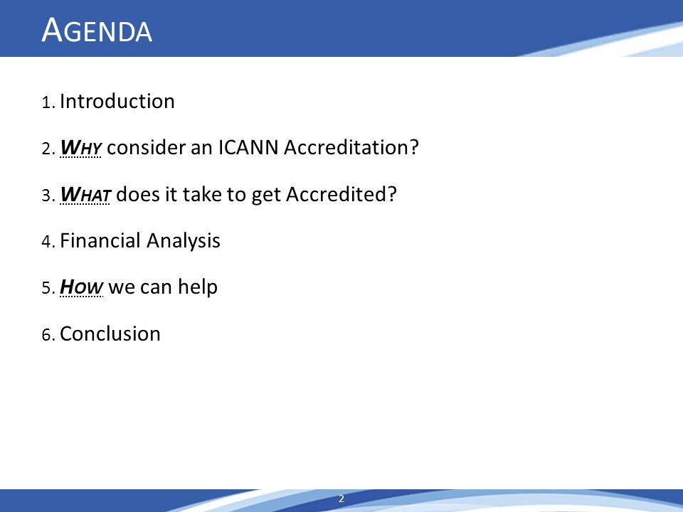 A GENDA 1. Introduction 2. W HY consider an ICANN Accreditation.
