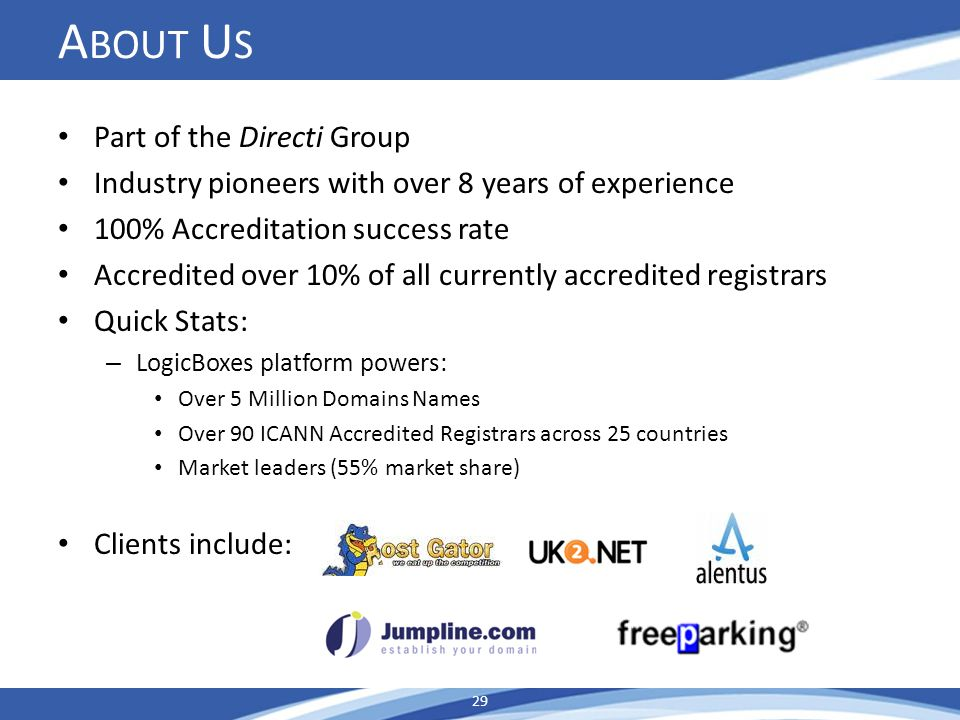 A BOUT U S Part of the Directi Group Industry pioneers with over 8 years of experience 100% Accreditation success rate Accredited over 10% of all currently accredited registrars Quick Stats: – LogicBoxes platform powers: Over 5 Million Domains Names Over 90 ICANN Accredited Registrars across 25 countries Market leaders (55% market share) Clients include: 29