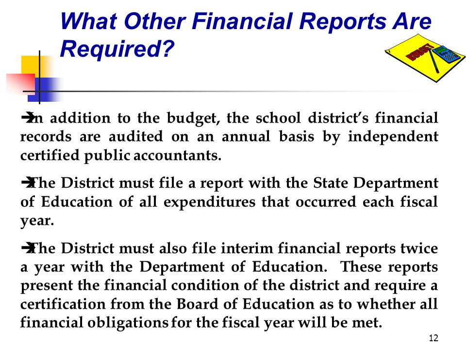 12 What Other Financial Reports Are Required.