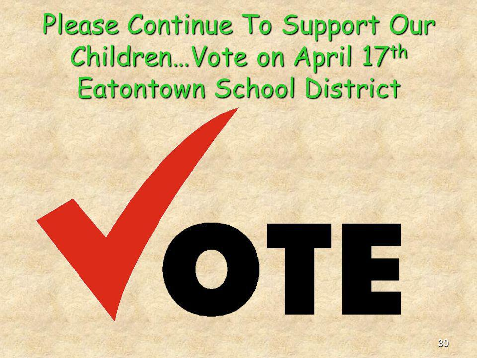 30 Please Continue To Support Our Children…Vote on April 17th Eatontown School District