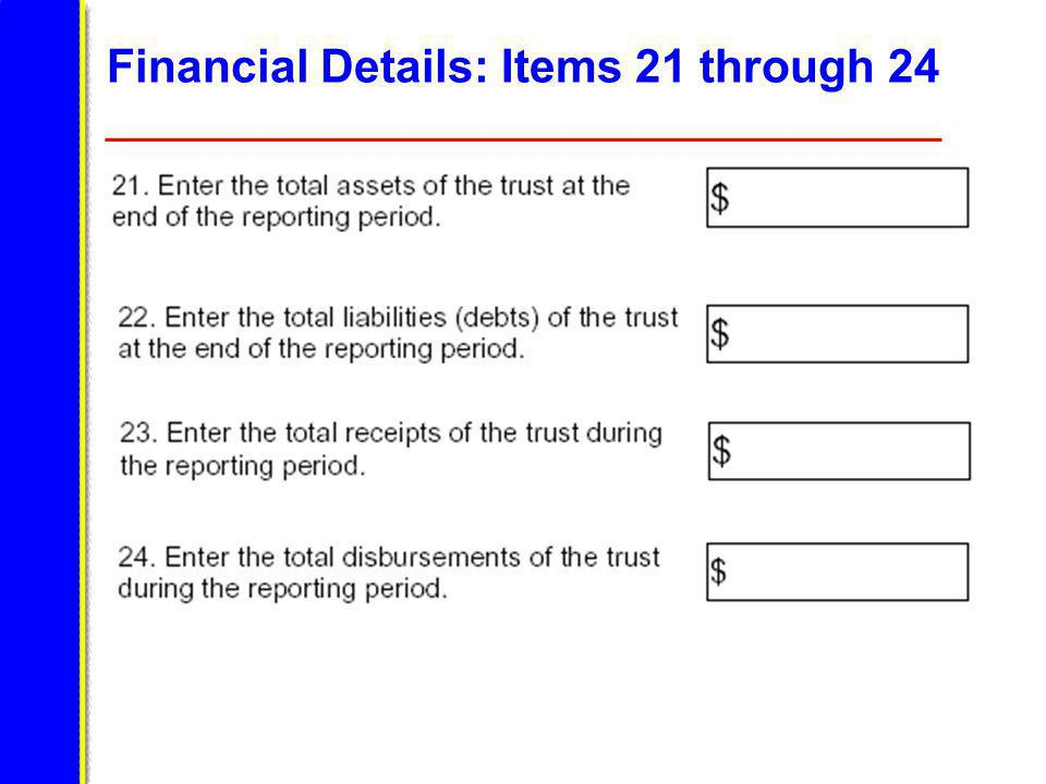 Financial Details: Items 21 through 24