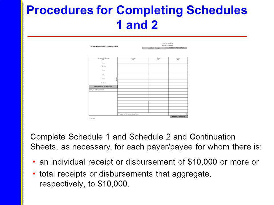 Procedures for Completing Schedules 1 and 2 an individual receipt or disbursement of $10,000 or more or total receipts or disbursements that aggregate, respectively, to $10,000.