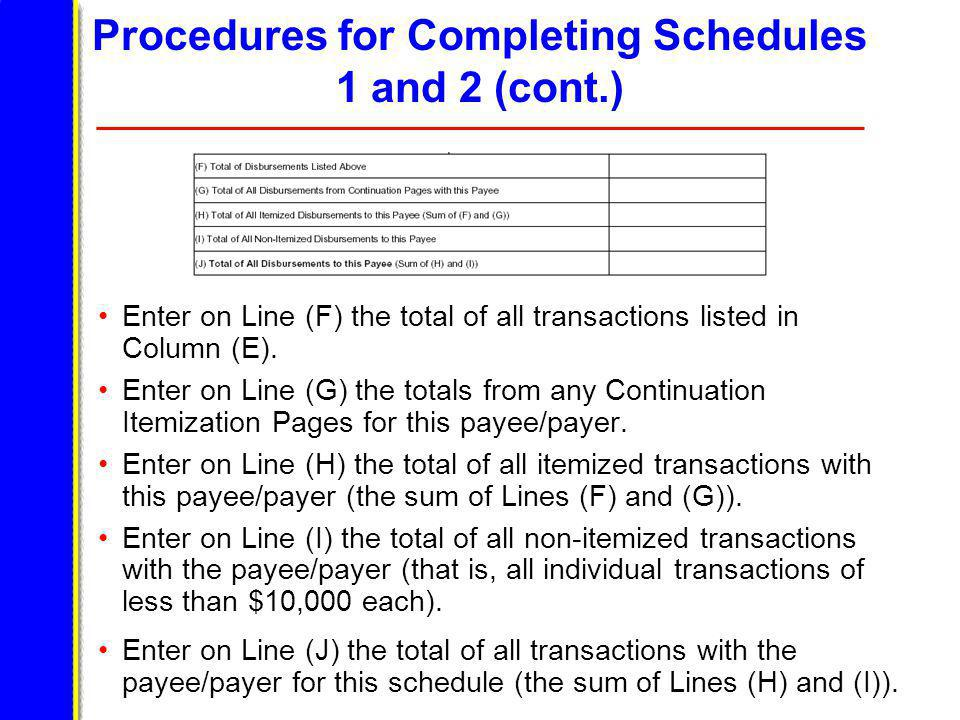 Procedures for Completing Schedules 1 and 2 (cont.) Enter on Line (F) the total of all transactions listed in Column (E).