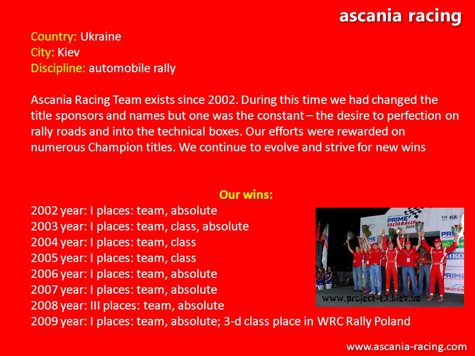 ascania racing Country: Ukraine City: Kiev Discipline: automobile rally Ascania Racing Team exists since 2002. During this time we had changed the tit
