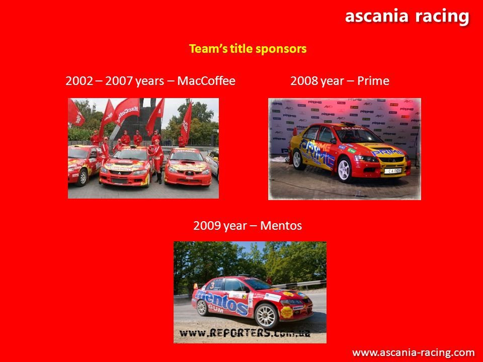 ascania racing Teams title sponsors 2002 – 2007 years – MacCoffee 2008 year – Prime 2009 year – Mentos www.ascania-racing.com