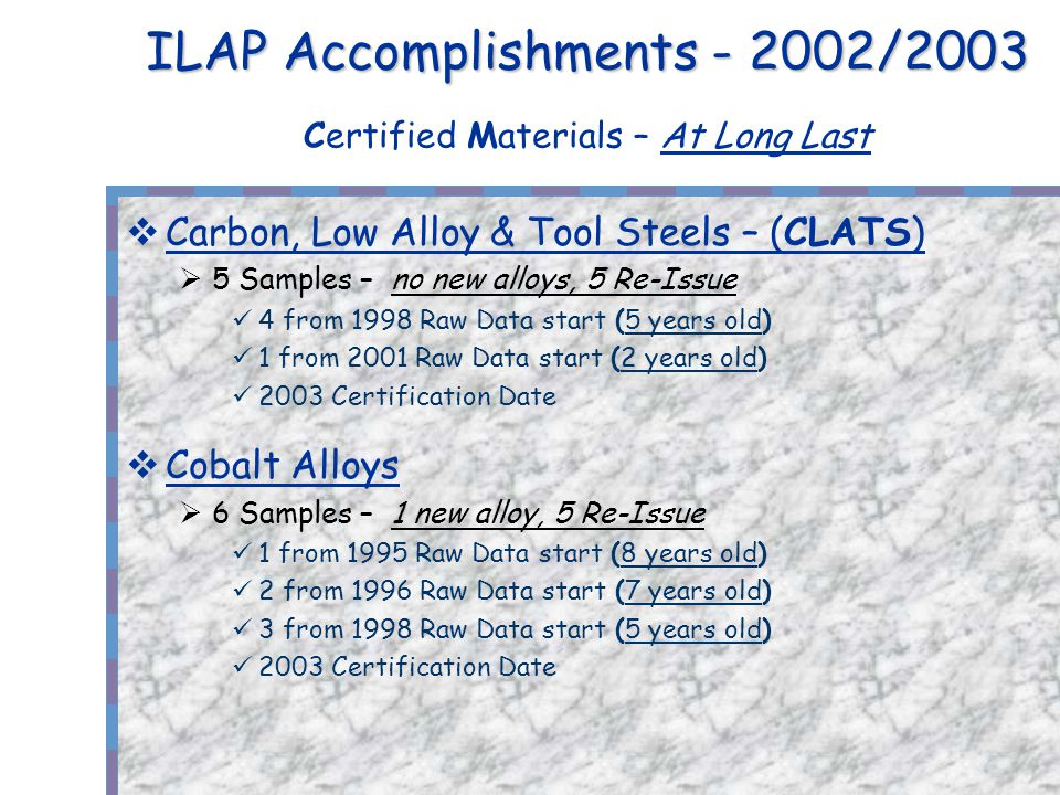 ILAP Accomplishments - 2002/2003 ILAP Accomplishments - 2002/2003 Certified Materials – At Long Last Carbon, Low Alloy & Tool Steels – (CLATS) 5 Samples – no new alloys, 5 Re-Issue 4 from 1998 Raw Data start (5 years old) 1 from 2001 Raw Data start (2 years old) 2003 Certification Date Cobalt Alloys 6 Samples – 1 new alloy, 5 Re-Issue 1 from 1995 Raw Data start (8 years old) 2 from 1996 Raw Data start (7 years old) 3 from 1998 Raw Data start (5 years old) 2003 Certification Date