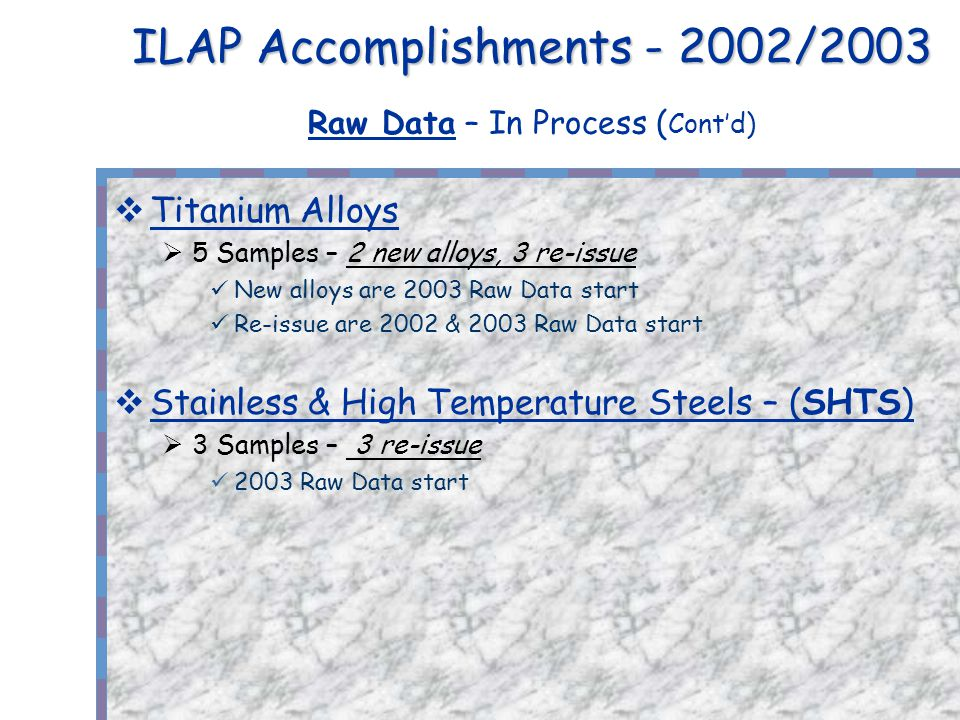 ILAP Accomplishments - 2002/2003 ILAP Accomplishments - 2002/2003 Raw Data – In Process ( Contd) Titanium Alloys 5 Samples – 2 new alloys, 3 re-issue New alloys are 2003 Raw Data start Re-issue are 2002 & 2003 Raw Data start Stainless & High Temperature Steels – (SHTS) 3 Samples – 3 re-issue 2003 Raw Data start
