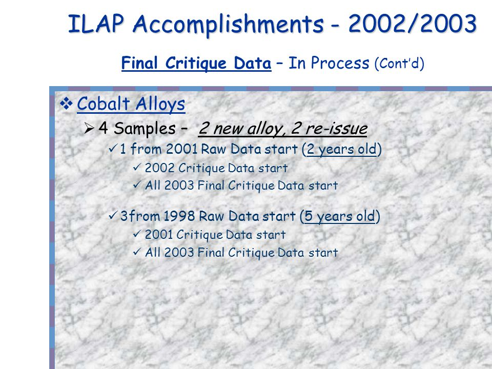 ILAP Accomplishments - 2002/2003 ILAP Accomplishments - 2002/2003 Final Critique Data – In Process (Contd) Cobalt Alloys 4 Samples – 2 new alloy, 2 re-issue 1 from 2001 Raw Data start (2 years old) 2002 Critique Data start All 2003 Final Critique Data start 3from 1998 Raw Data start (5 years old) 2001 Critique Data start All 2003 Final Critique Data start