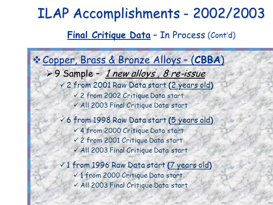ILAP Accomplishments - 2002/2003 ILAP Accomplishments - 2002/2003 Final Critique Data – In Process (Contd) Copper, Brass & Bronze Alloys – (CBBA) 9 Sample – 1 new alloys, 8 re-issue 2 from 2001 Raw Data start (2 years old) 2 from 2002 Critique Data start All 2003 Final Critique Data start 6 from 1998 Raw Data start (5 years old) 4 from 2000 Critique Data start 2 from 2001 Critique Data start All 2003 Final Critique Data start 1 from 1996 Raw Data start (7 years old) 1 from 2000 Critique Data start All 2003 Final Critique Data start