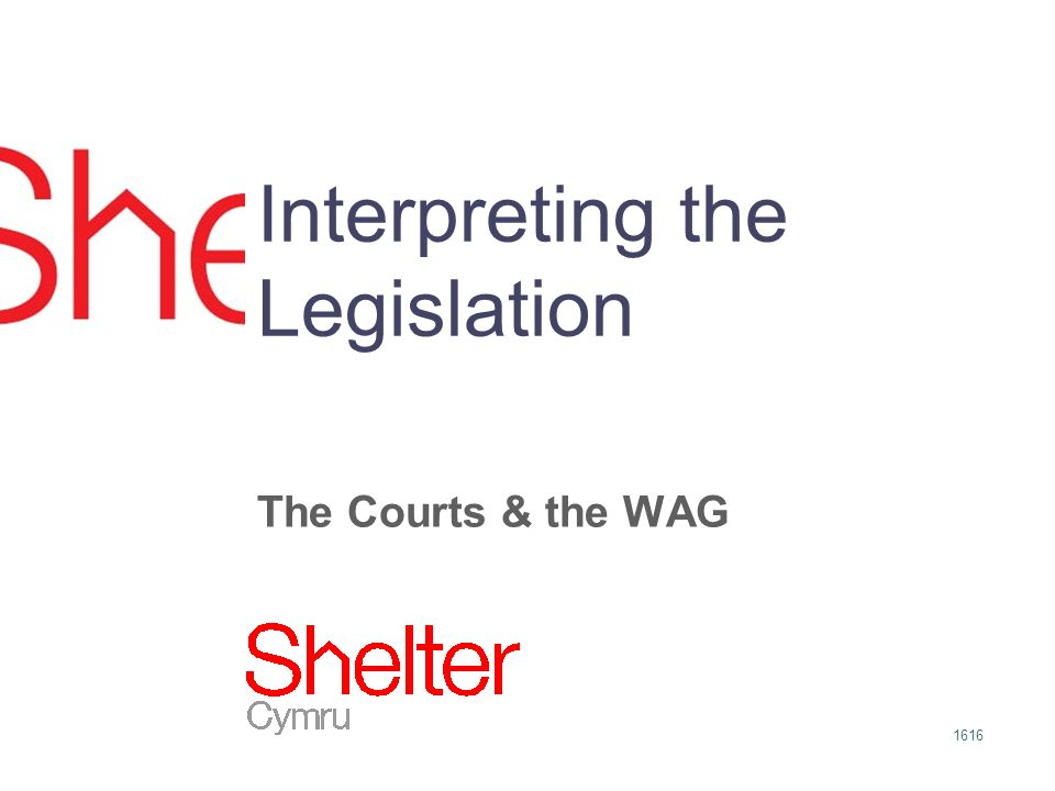 1616 Interpreting the Legislation The Courts & the WAG