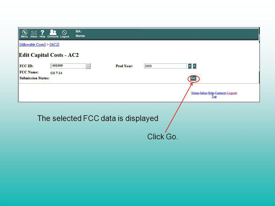 The selected FCC data is displayed Click Go.