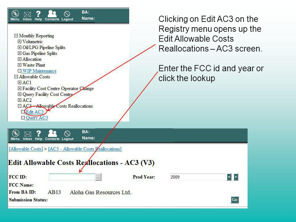 Clicking on Edit AC3 on the Registry menu opens up the Edit Allowable Costs Reallocations – AC3 screen. Enter the FCC id and year or click the lookup