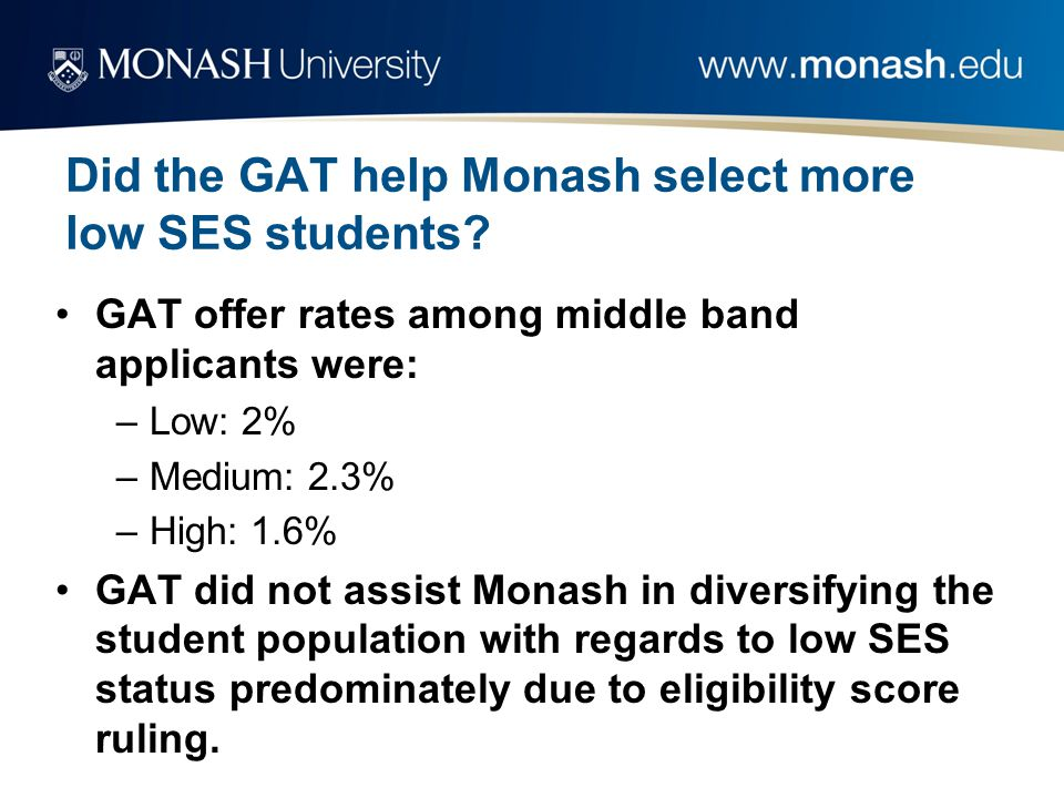 Did the GAT help Monash select more low SES students.