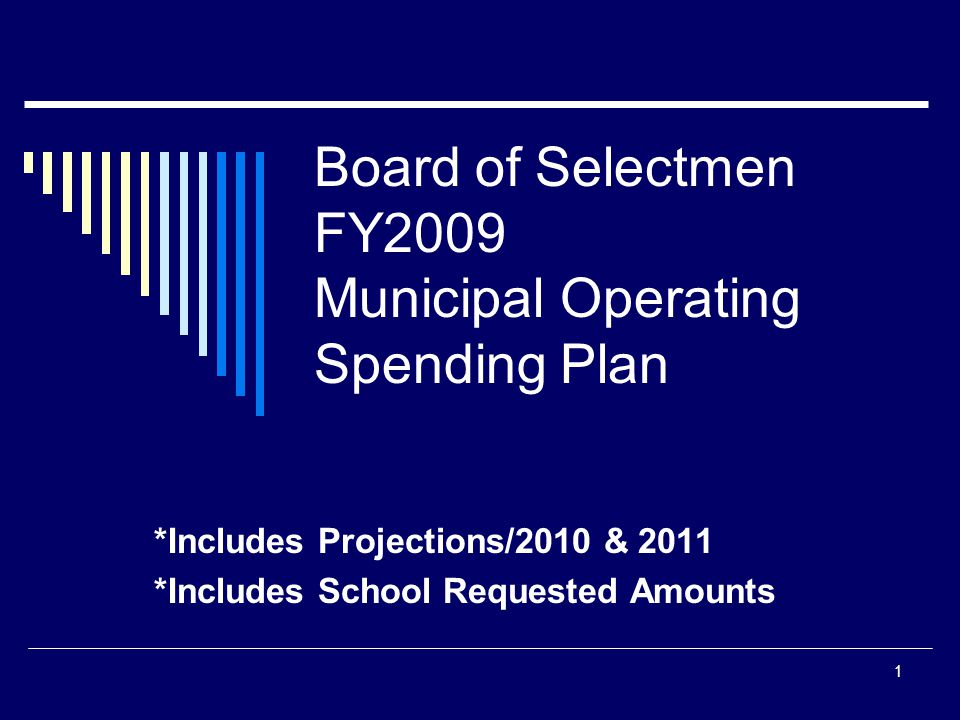 1 Board of Selectmen FY2009 Municipal Operating Spending Plan *Includes Projections/2010 & 2011 *Includes School Requested Amounts