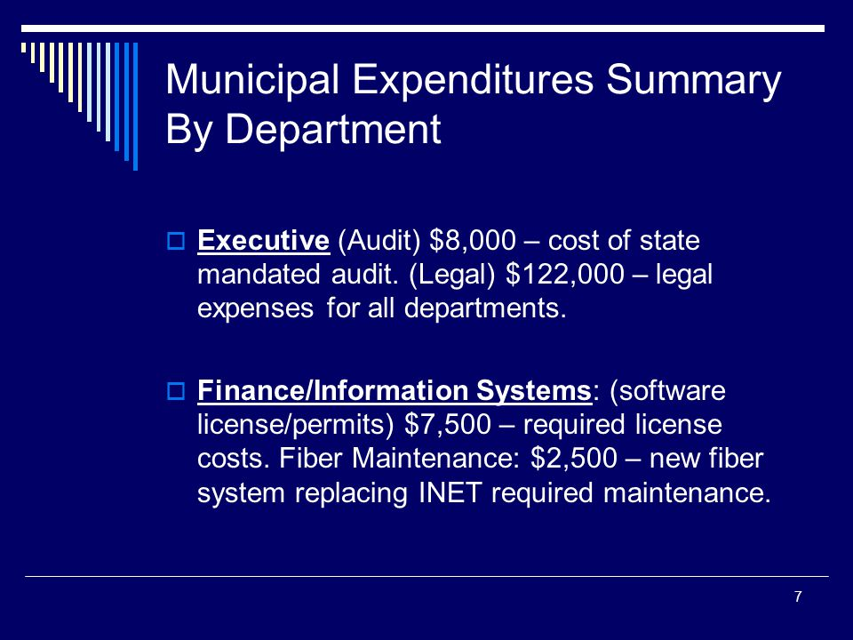7 Municipal Expenditures Summary By Department Executive (Audit) $8,000 – cost of state mandated audit.