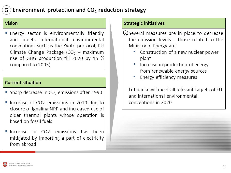 13 Environment protection and CO 2 reduction strategy Current situation Energy sector is environmentally friendly and meets international environmental conventions such as the Kyoto protocol, EU Climate Change Package (CO 2 – maximum rise of GHG production till 2020 by 15 % compared to 2005) Vision Sharp decrease in CO 2 emissions after 1990 Increase of CO2 emissions in 2010 due to closure of Ignalina NPP and increased use of older thermal plants whose operation is based on fossil fuels Increase in CO2 emissions has been mitigated by importing a part of electricity from abroad Strategic initiatives Several measures are in place to decrease the emission levels – those related to the Ministry of Energy are: Construction of a new nuclear power plant Increase in production of energy from renewable energy sources Energy efficiency measures Lithuania will meet all relevant targets of EU and international environmental conventions in 2020 G1 G