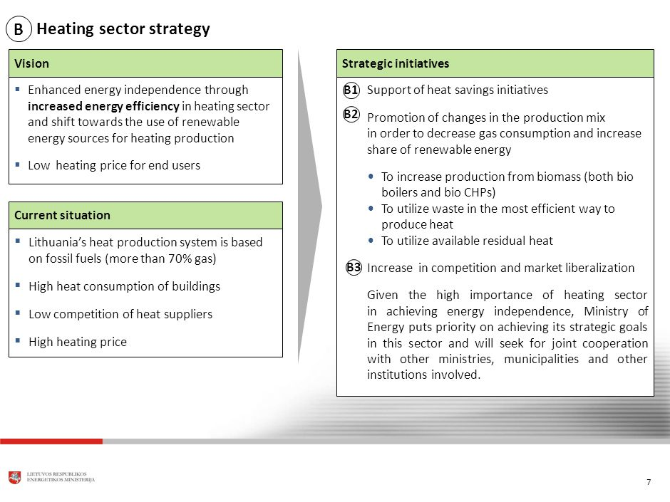 7 Heating sector strategy Vision Enhanced energy independence through increased energy efficiency in heating sector and shift towards the use of renewable energy sources for heating production Low heating price for end users Current situation Lithuanias heat production system is based on fossil fuels (more than 70% gas) High heat consumption of buildings Low competition of heat suppliers High heating price Strategic initiatives B1 B2 Support of heat savings initiatives Promotion of changes in the production mix in order to decrease gas consumption and increase share of renewable energy To increase production from biomass (both bio boilers and bio CHPs) To utilize waste in the most efficient way to produce heat To utilize available residual heat Increase in competition and market liberalization Given the high importance of heating sector in achieving energy independence, Ministry of Energy puts priority on achieving its strategic goals in this sector and will seek for joint cooperation with other ministries, municipalities and other institutions involved.