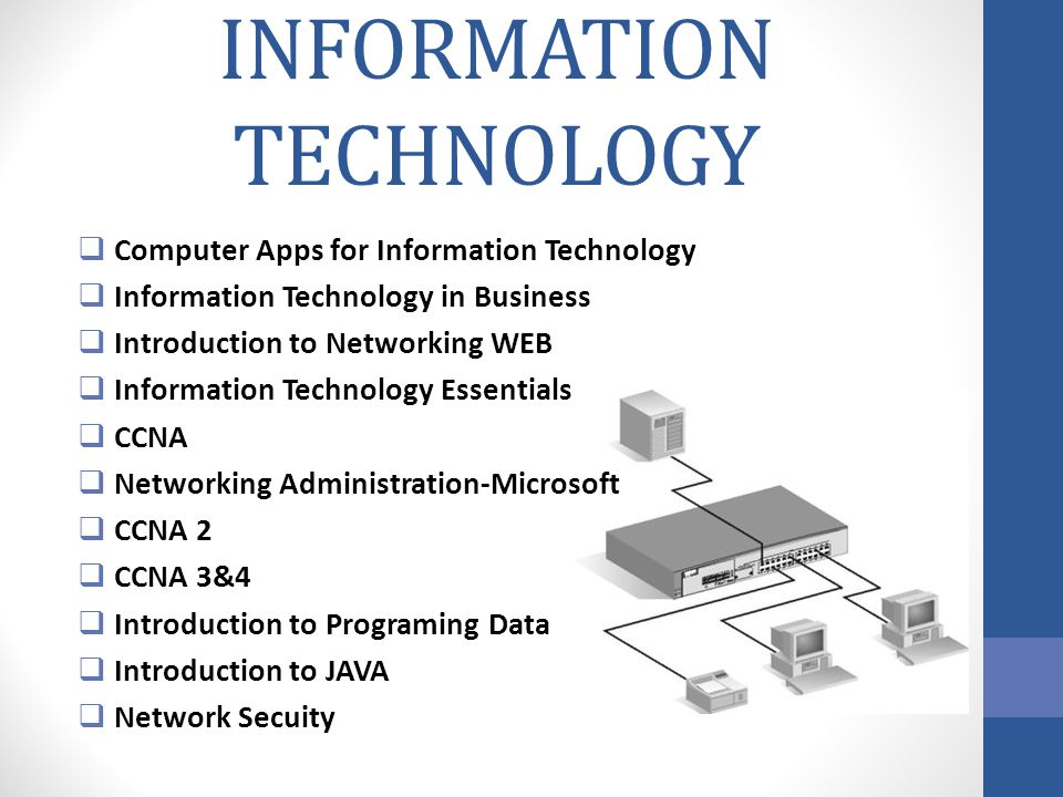 INFORMATION TECHNOLOGY Computer Apps for Information Technology Information Technology in Business Introduction to Networking WEB Information Technolo