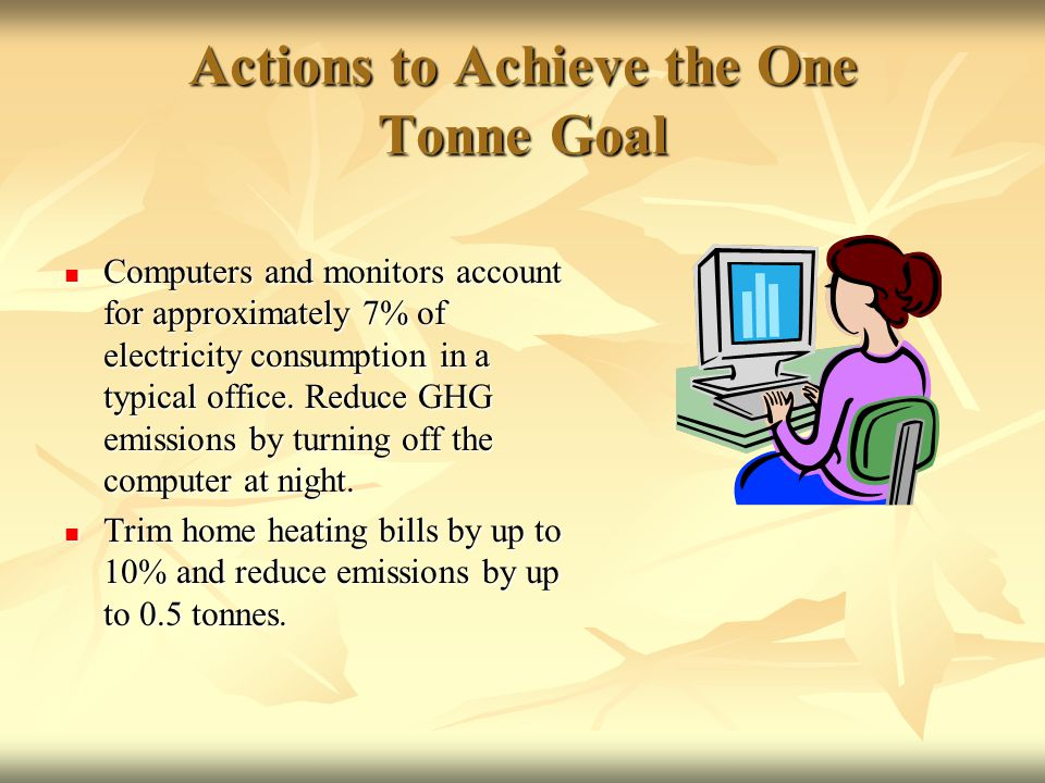 Actions to Achieve the One Tonne Goal Computers and monitors account for approximately 7% of electricity consumption in a typical office.
