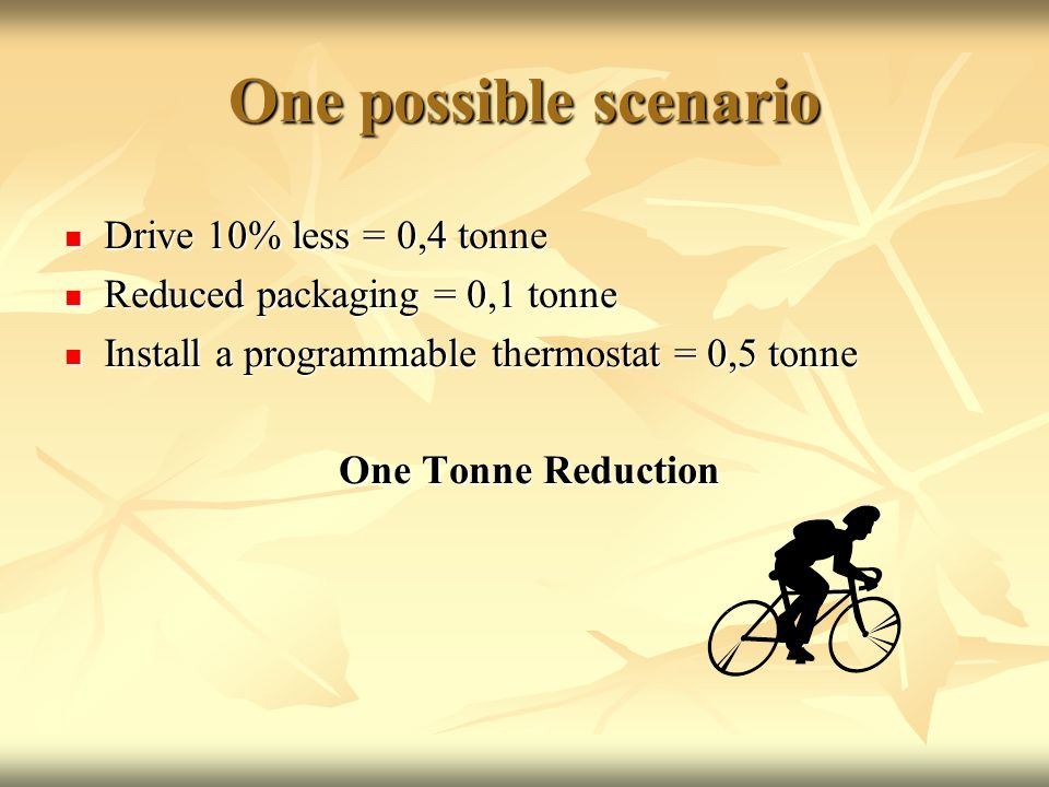 One possible scenario Drive 10% less = 0,4 tonne Drive 10% less = 0,4 tonne Reduced packaging = 0,1 tonne Reduced packaging = 0,1 tonne Install a programmable thermostat = 0,5 tonne Install a programmable thermostat = 0,5 tonne One Tonne Reduction