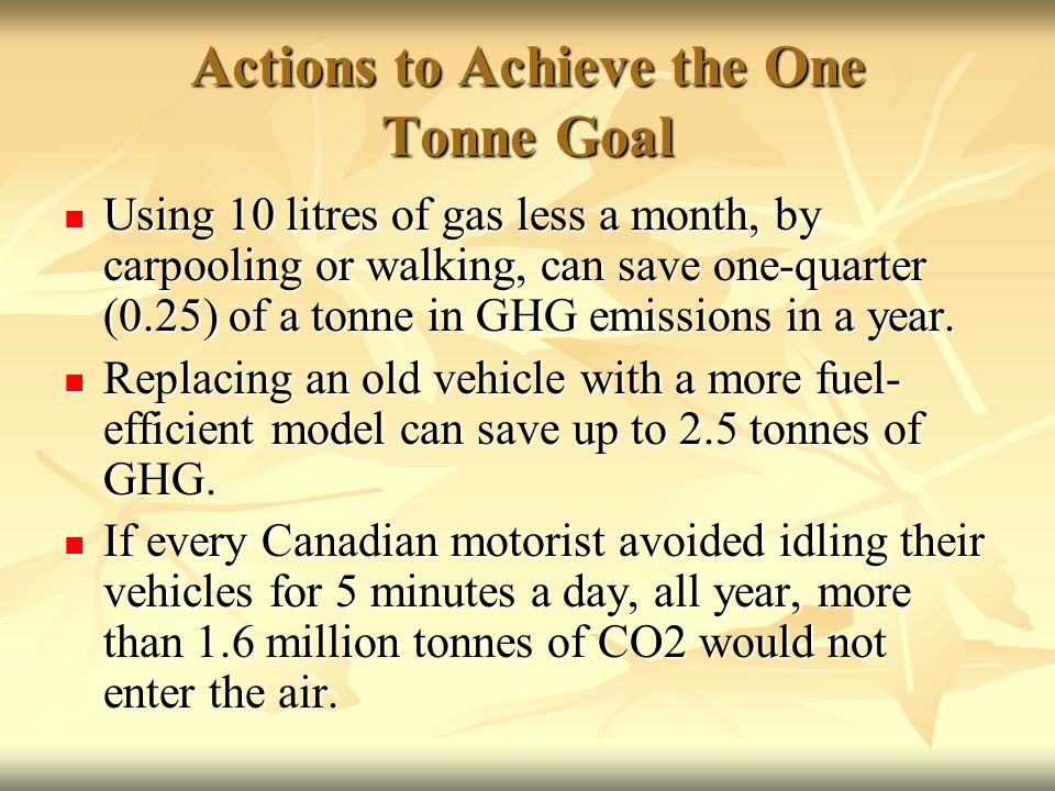 Actions to Achieve the One Tonne Goal Using 10 litres of gas less a month, by carpooling or walking, can save one-quarter (0.25) of a tonne in GHG emissions in a year.