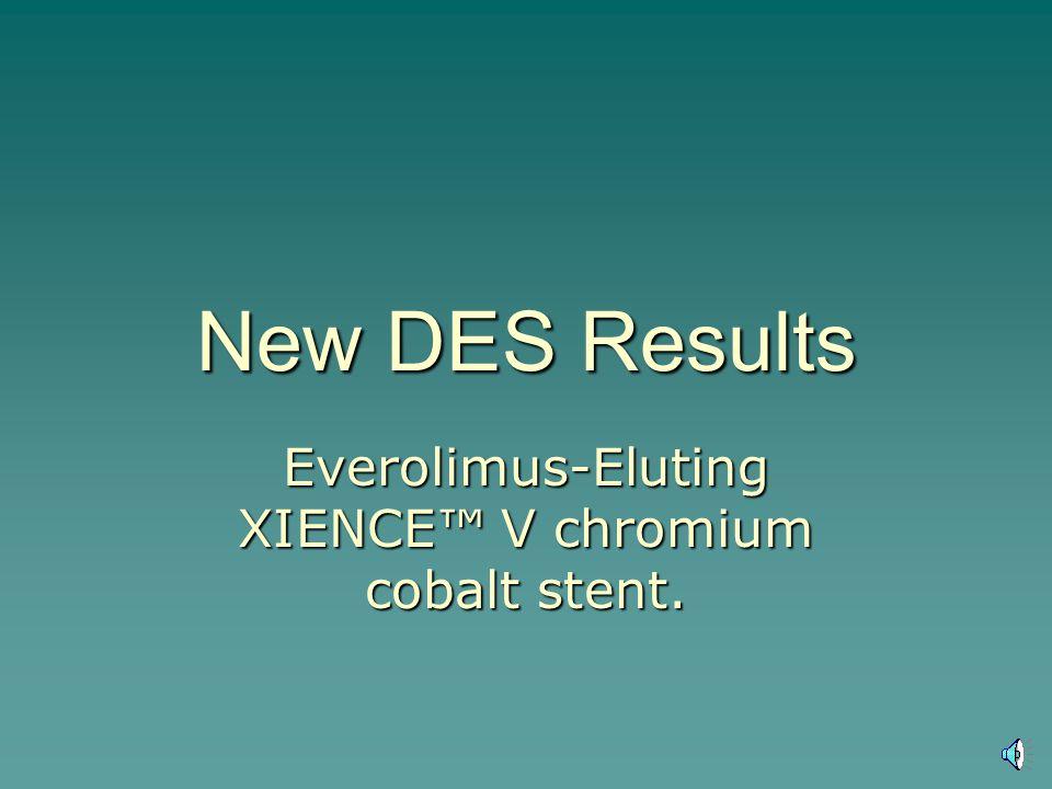 New DES Results Everolimus-Eluting XIENCE V chromium cobalt stent.