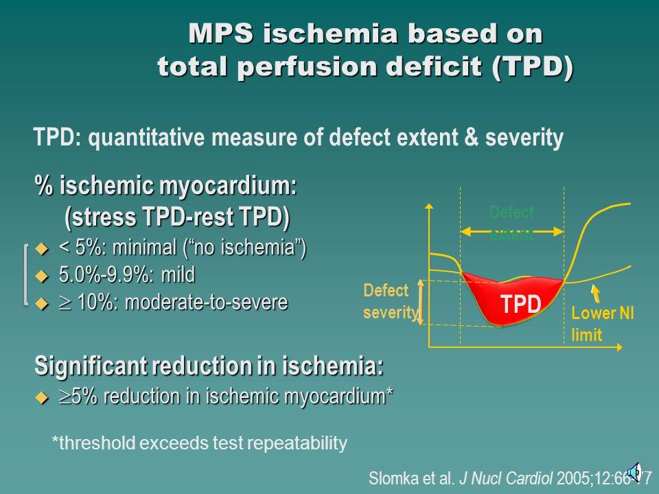 % ischemic myocardium: (stress TPD-rest TPD) (stress TPD-rest TPD) < 5%: minimal (no ischemia) < 5%: minimal (no ischemia) 5.0%-9.9%: mild 5.0%-9.9%: