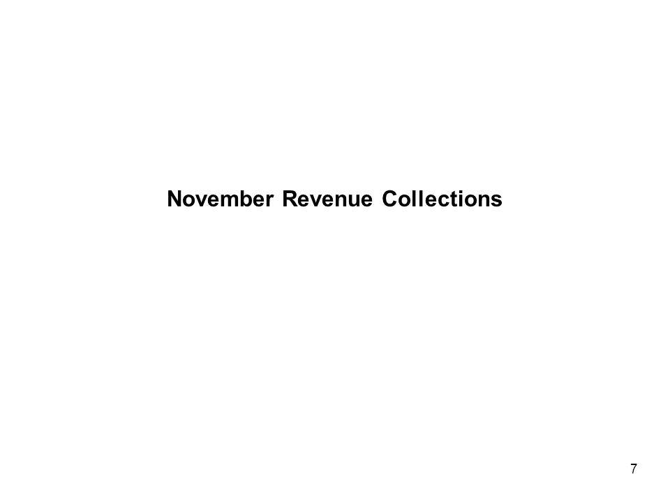 Year-to-date Revenue Collections Through November Are Running Very Close To The Interim Forecast… Summary of Fiscal Year 2008 Revenue Collections July through November 8 (a) Adjusted for nongeneral funds interest earnings for October and November that will be transferred in January.