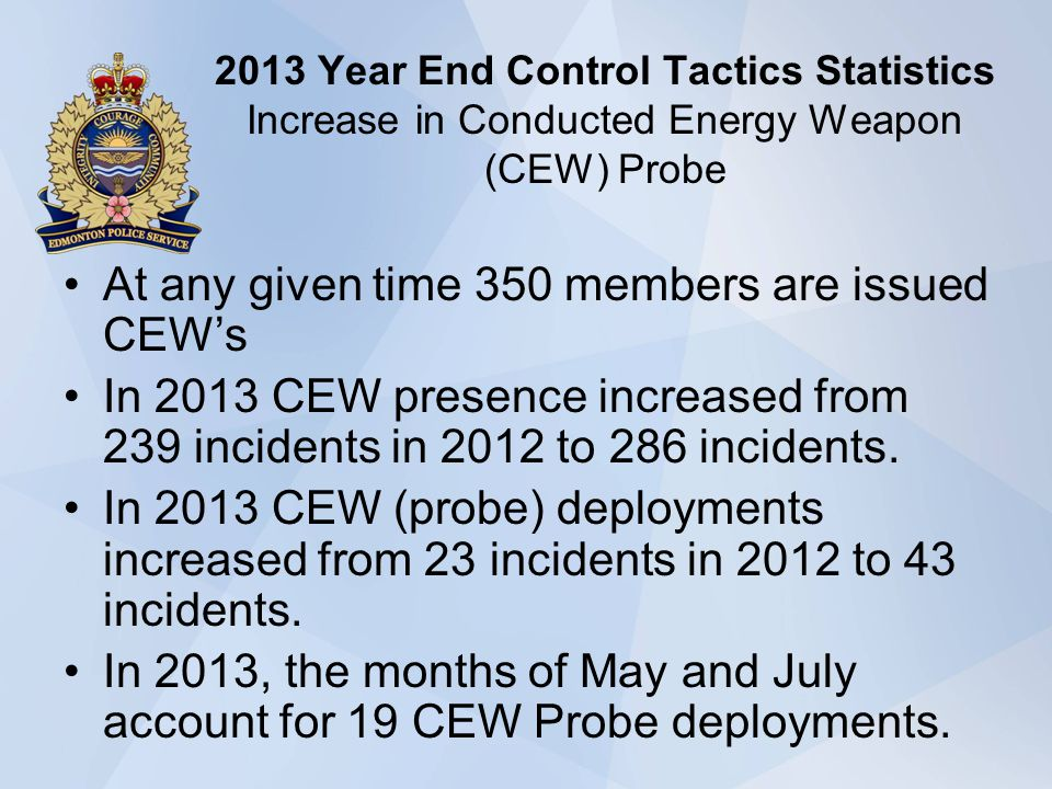 2013 Year End Control Tactics Statistics Increase in Conducted Energy Weapon (CEW) Probe At any given time 350 members are issued CEWs In 2013 CEW presence increased from 239 incidents in 2012 to 286 incidents.