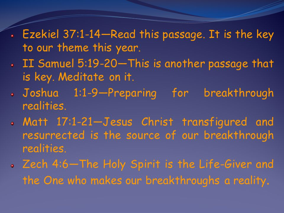 Ezekiel 37:1-14Read this passage.It is the key to our theme this year.