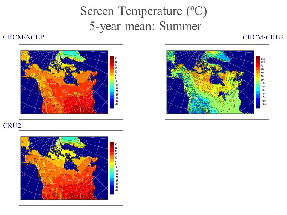 Screen Temperature (ºC) 5-year mean: Summer CRCM/NCEP CRU2 CRCM-CRU2