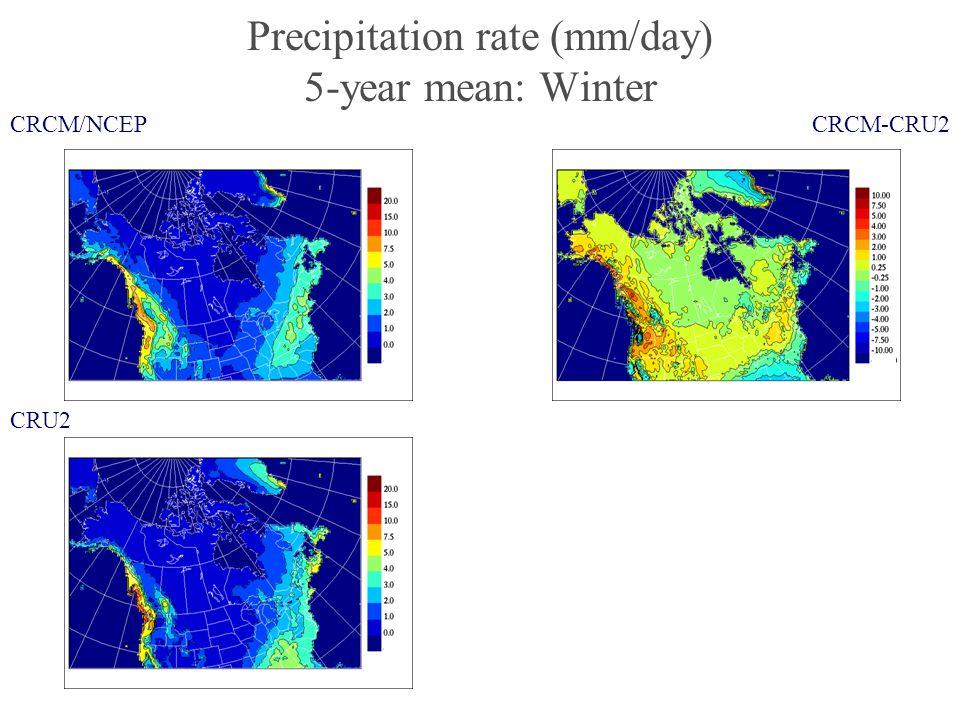 Precipitation rate (mm/day) 5-year mean: Winter CRCM/NCEP CRU2 CRCM-CRU2