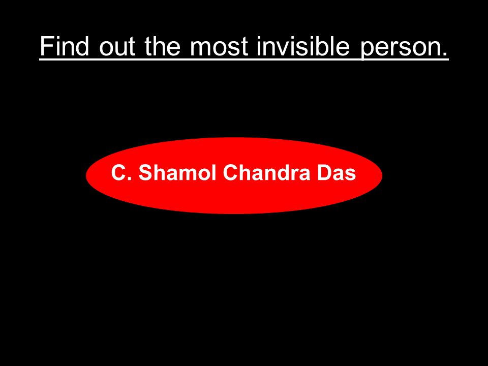 Find out the most invisible person.