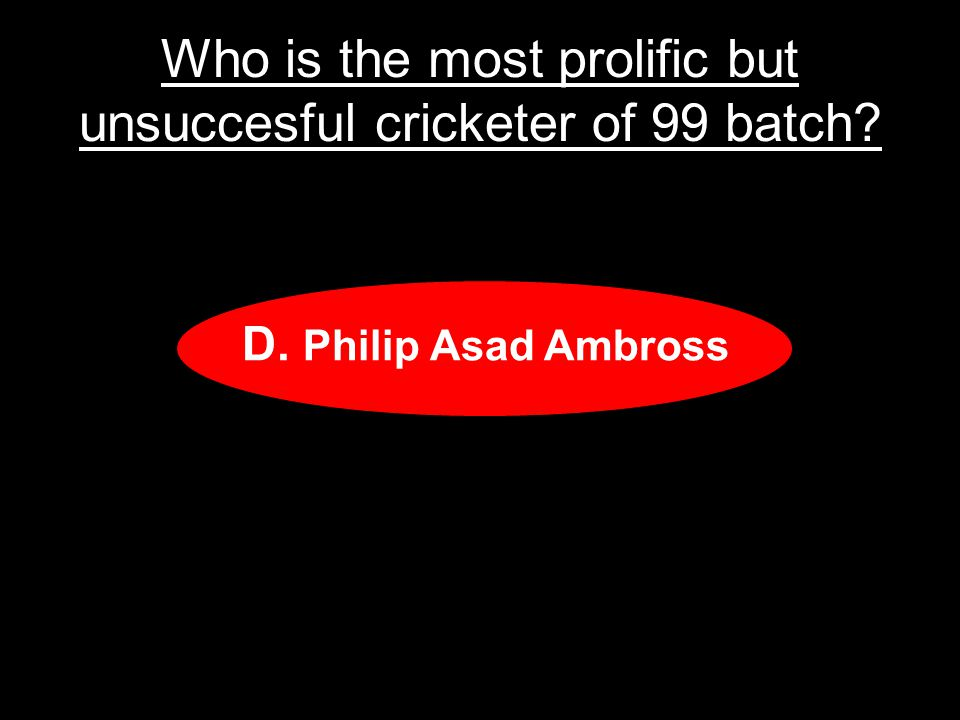 Who is the most prolific but unsuccesful cricketer of 99 batch.