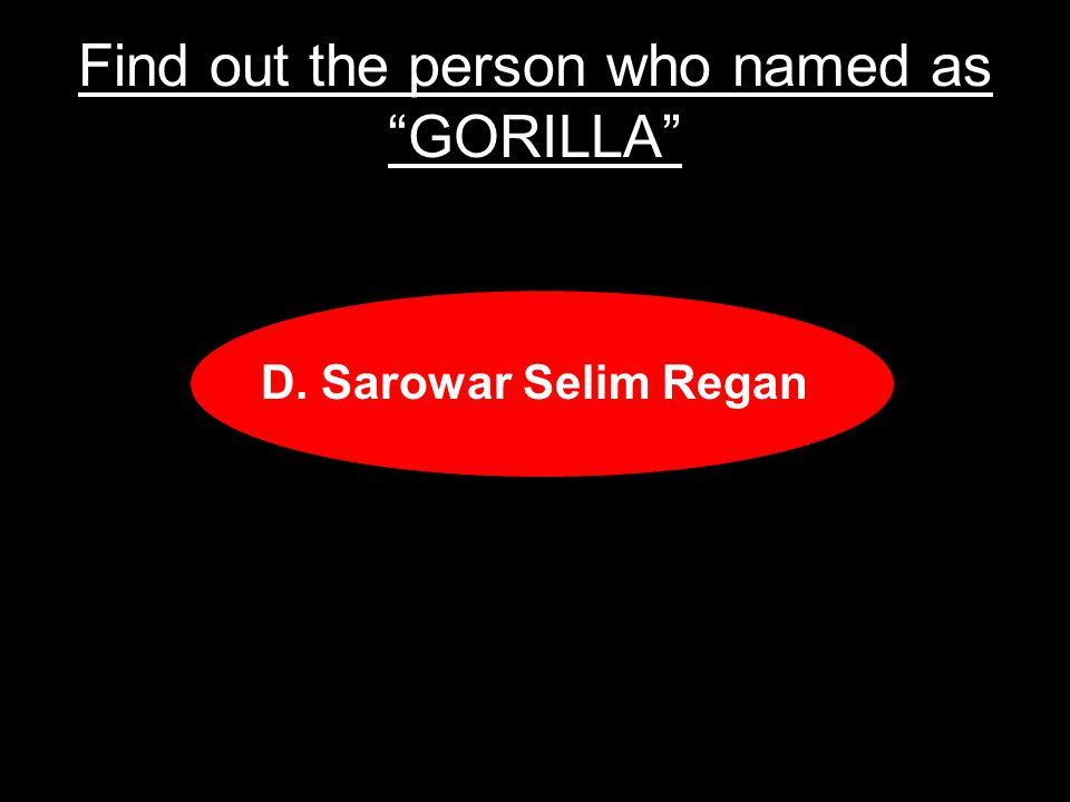 Find out the person who named as GORILLA A.Sarowar B.Selim C.Regan D.Sarowar Selim Regan