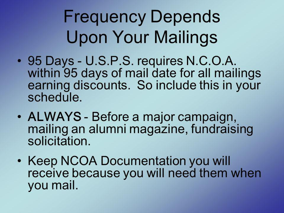 Frequency Depends Upon Your Mailings 95 Days - U.S.P.S.