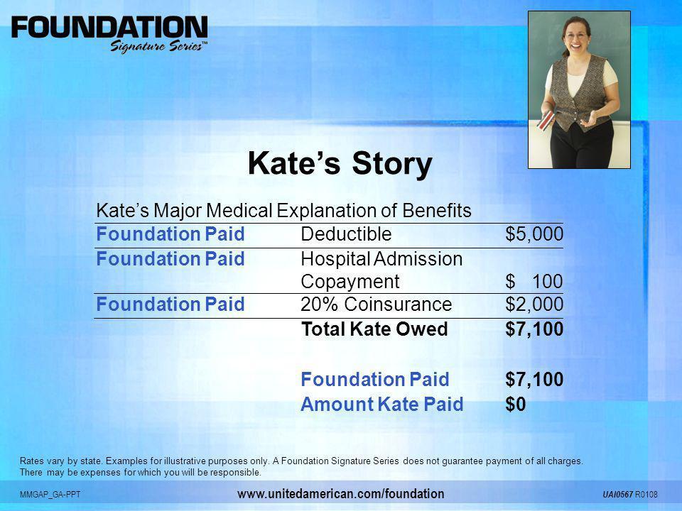 MMGAP_GA-PPT UAI0567 R0108 www.unitedamerican.com/foundation Kates Story Kates Major Medical Explanation of Benefits Foundation PaidDeductible$5,000 F