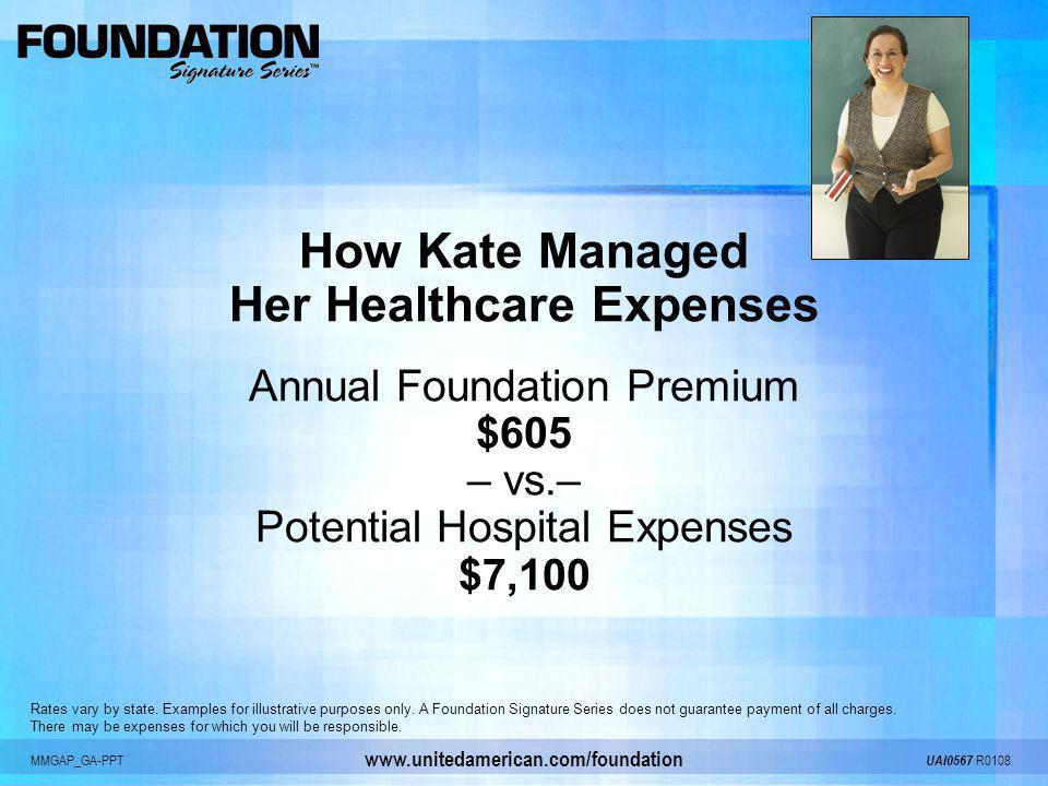 MMGAP_GA-PPT UAI0567 R0108 www.unitedamerican.com/foundation How Kate Managed Her Healthcare Expenses Annual Foundation Premium $605 – vs.– Potential
