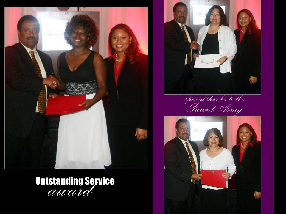 award Outstanding Service special thanks to the Parent Army