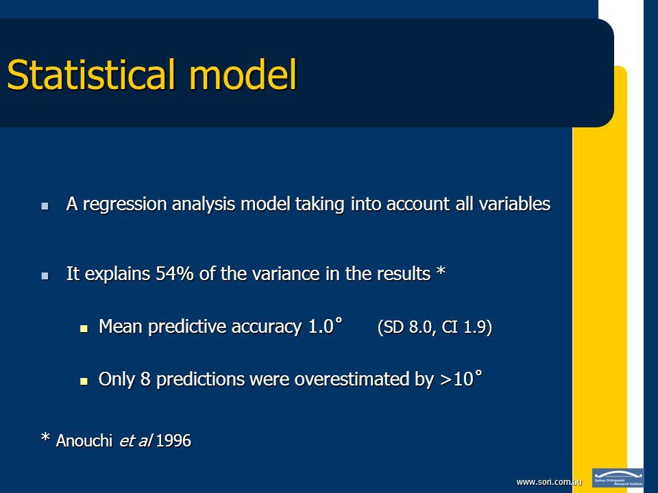 www.sori.com.au Statistical model A regression analysis model taking into account all variables A regression analysis model taking into account all va